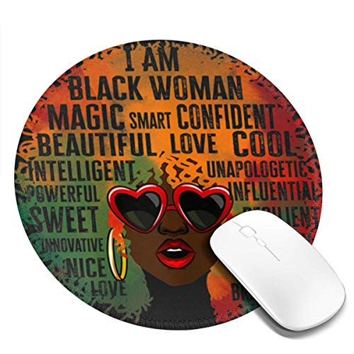 African American Queen Black Woman History Month Pride Mousepad Non-Slip Rubber Gaming Mouse Pad Mouse Pads for Computers Laptop 8.0x8.0 in