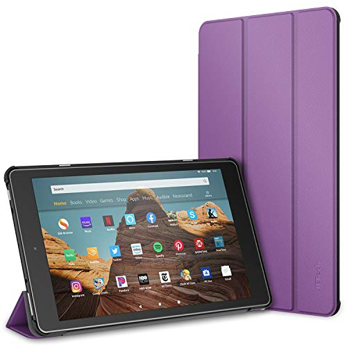 JETech Case for Amazon Fire HD 10 Tablet 10.1' (7th / 9th Generation, 2017 Release / 2019 Release) Smart Cover with Auto Sleep/Wake, Purple