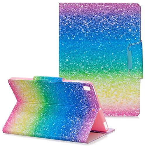 Coopts iPad 8th/7th Gen Case iPad 10.2 2020/2019 Case with Stand, Slim Light PU Leather Smart Auto Sleep/Wake Magnetic Folio Wallet Pocket Kickstand Cover for Apple iPad 8 2020/iPad 7 2019, Rainbow