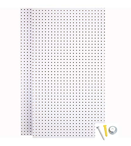 Triton Products (PEG2-WHT) Wall Ready White Pegboards (2) 24 In. W x 42 In. H x 1/4 In. D Heavy-Duty High Density Fiberboard Round Hole Pegboards with Mounting Hardware