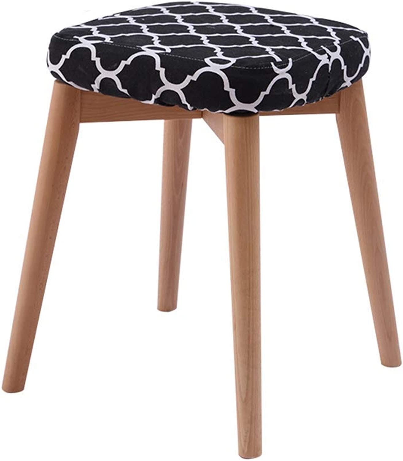 XMDYB Four Legged Stool Standing at 45 cm High, Wood (color   Style B)