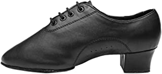 Xinvision Standard Leather Dance Shoes for Men Boys Adult - Round Toe Strappy Cuban Heel Bachata Salsa Tango Ballroom Cowhide Sole Footwear Black