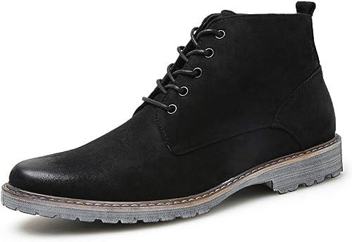 JUJIANFU-Chaussures Confortables Bottes de Mode pour Hommes Chaussures de Plein air décontractées et Confortables (Couleur   Noir, Taille   46 EU)