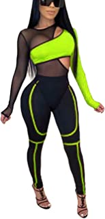 Remelon Two Piece Outfit for Women Hollow Mesh Bodysuit Stretchy Pant Tracksuits