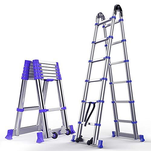 Xiao Jian Dikke aluminiumlegering multifunctionele vouwladder, telescopische ladder naar huis Herringbone Engineering hefladder, draaggewicht 150 kg opstapkruk