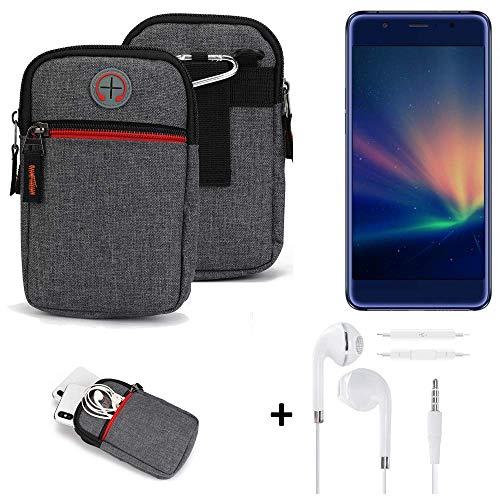 K-S-Trade® Gürtel-Tasche + Kopfhörer Für -Hisense A2 Pro- Handy-Tasche Schutz-hülle Grau Zusatzfächer 1x