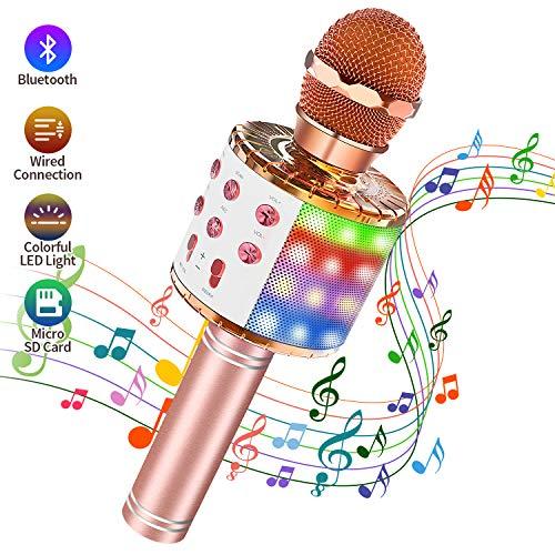 Karaoke Mikrofon Bluetooth, 4 in 1 Drahtloses Tragbarer Karaoke Mikrophone mit Lautsprecher und Tanzen LED Lichter für Kinder/Erwachsene/KTV/Party, kompatibel mit IOS/Android/PC/Smartphone