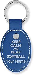 Oval Keychain, Keep Calm and Play Softball, Personalized Engraving Included (Dark Blue)
