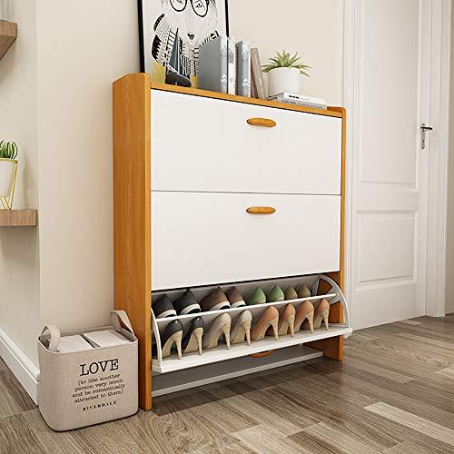 Skohylla med 3 nivåer, rymmer 12–26 par, trä Skoskåp, med handtag, för entré, badrum, kök, vardagsrum L55*H108CM,24CM Double Layer