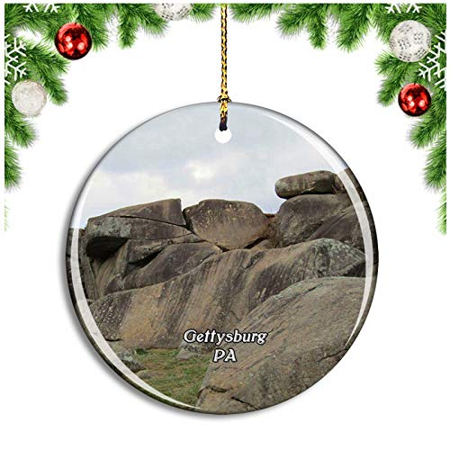 Weekino Gettysburg Devils Den Pennsylvania USA Christmas Ornament Xmas Tree Decoration Hanging Pendant Travel Souvenir Collection Double Sided Porcelain 2.85 Inch