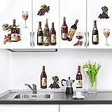 decalmile Pegatinas de Pared Cocina Botella De Vino Vinilos Decorativos Uva Fruta Adhesivos Pared Comedor Sala Salón Armario