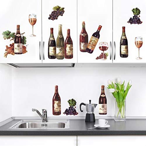 decalmile Wandtattoo Küche Weinflaschen Weinglas Wandsticker Obst Traube Wandaufkleber Küche Esszimmer Wohnzimmer Wanddeko