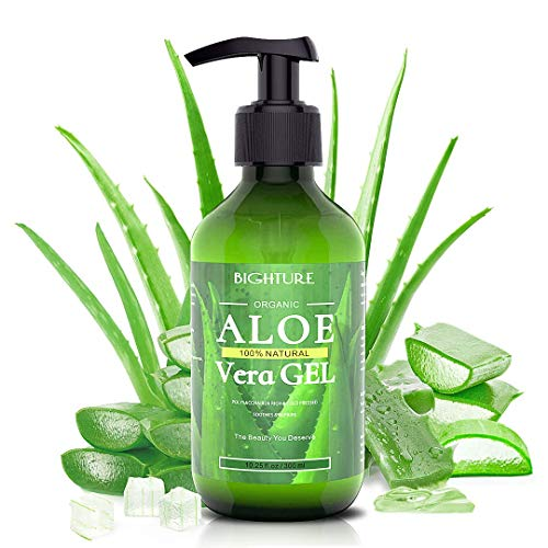 Bighture Aloe Vera Gel, 100% Aloe Vera Organic from Freshly Cut Aloe Leaves, Skin Care for Deeply & Rapidly Soothing, Firming, After Shave, Sunburn Relieve, etc