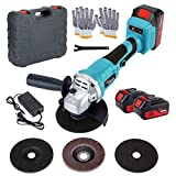 Cordless Angle Grinder Set, 18V Electric Cut-off Tool/Grinder with 2 Pack 5.0Ah Lithium-ion Battery and Charger & Carrying Case Kit, for Cutting and Grinding