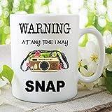 Taza de cerámica impresa con mensaje en inglés 'Warning at Any Time I May Snap', regalo de Navidad, cumpleaños y Papá...