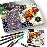 Castle Arts 24 lápices de colores en un estuche de metal, inspirado en Cezanne. Perfecto para dibujar, hacer bocetos, colorear. Con núcleos blandos, mezcla superior y juego de capas