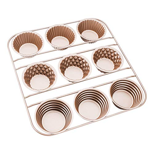 Popover Pfanne, Beasea Antihaft-Popover Kuchenform, Karbonstahl, 9 Mulden, Popover Backform, Muffin-Backform, Muffins, Cupcakes, Backgeschirr