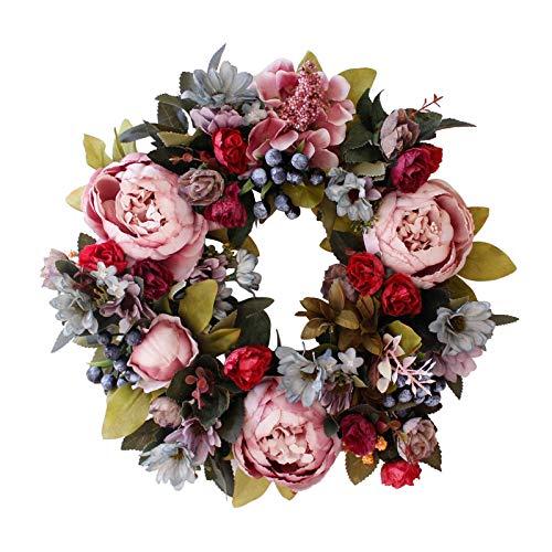 Künstliche Türkranz Deko , künstliche Pfingstrose Hydrangea-Blumen-Haustür-Kränze Peony Kranz Künstliche Blumen Türkranz für Frühling und Sommer All Seasons Blumenkranz (A)