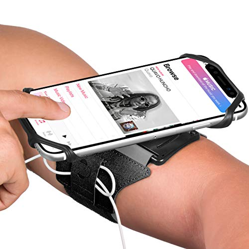 VUP Running Armband for iPhone 11 Pro Max X XR XS 8 7 6 6s Plus,Galaxy S10 S9 S8 Plus, Note 9/8/5/4,Google Pixel 3/2 XL, 360°Rotatable with Key Holder Phone Armband for Hiking Biking Walking(Black)