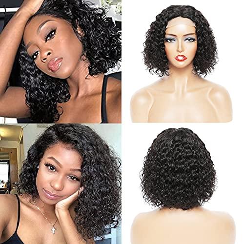 Short Bob Wig Human Hair for Black Women Water Waver Bob Wigs T Part Bob (4x4x1) Lace Front Wigs Brazilian Human Hair 150% Density Natural Black Color (12inch)