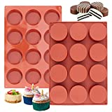 Ocmoiy Cylinder Cake Molds Silicone, Round Cake Pan Cupcake Mold for Baking Chocolate Covered Cookies/Muffin/Jello/Brownie, Non-Stick and Food-grade, 12-Cavity Pack of 2