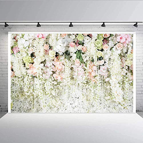 White Flower Backdrop,Aisnyho 3D Curtain Flower Wedding Birthday Party Background Carnival Party Photo Backdrop
