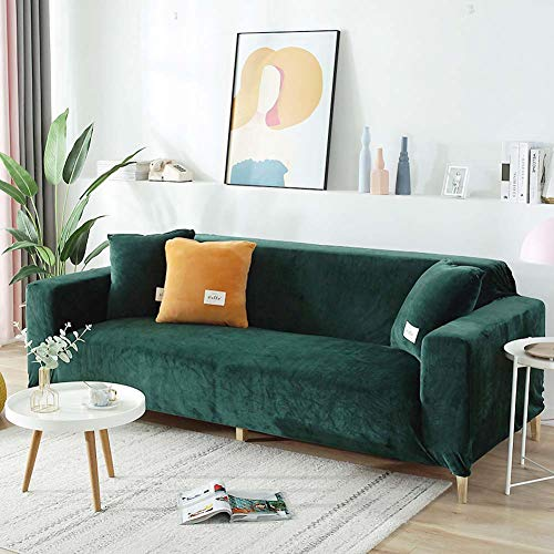 XM&LZ Velvet L Shaped Sofa Cover For 1 2 3 4 Seater,Stretch Corner Couch Covers Furniture Protector,Plush Slipcover Cushion For Living Room Dark Green 1 Seat/90-140cm