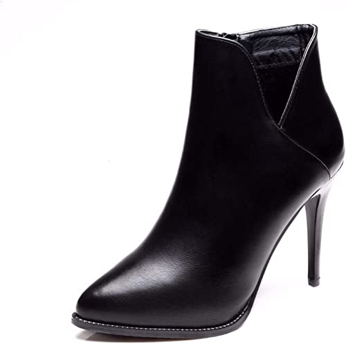 HBDLH Chaussures pour femmes 9Cm Mode Pointus avec des Bottes Imperméables Bien avec Martin Tableau V Nu des Bottes.