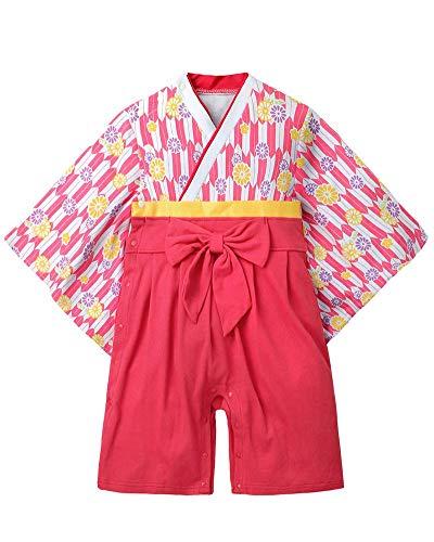 Crystallly Conjunto De Ropa De Alta Recién Nacida Niña Calidad Mameluco Estilo Simple Que Arropan Los Pantalones Tops Japón Kimono Traje De Mono Cuerpo (Color : 43Dark Rot, One Size : 70CM)