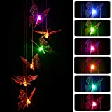 Solar Wind Butterfly Lights Outdoor, Six Butterfly Wind Chime, Wind Chime Butterflies Windchime Outdoor Decor for Hanging Decorative Romantic Patio Lights for Yard Garden Home (Butterfly)