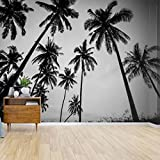 Wall Mural black and white photo of palm trees black and whites and pictures Peel and Stick Wallpaper Self Adhesive Wallpaper Large Wall Sticker Removable Vinyl Film Roll Shelf Paper Home Decor