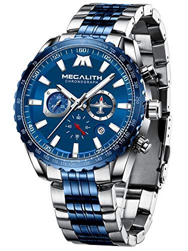 MEGALITH Orologio Uomo Acciaio Orologio da Polso Cronografo Quadrante Grande Blu Elegante Orologi Analogico Impermeabile Design Luminoso Data