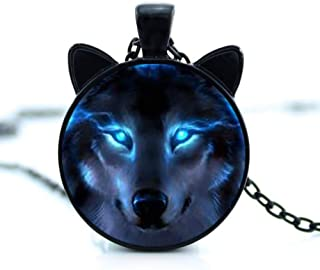 Wolf Charm Necklace Glowing Eyes Halloween Chain Pendant Unique Gifts