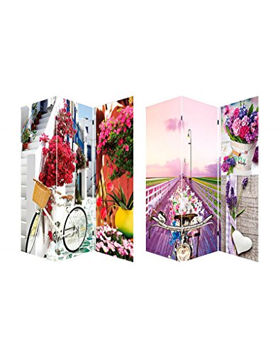 Home Line Biombo Separador de ambientes, Bicycle and Flowers, Provenzal. para el...
