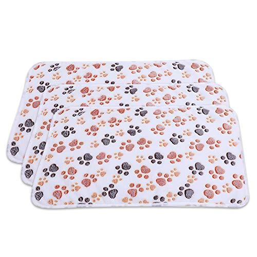 PET SPPTIES Super Soft Fleece Warm Pet Hund Katze Bett Decken, Decke für Welpen Paw Prints Pet Kissen Kleine Hund Katze Bett weiche warme Schlafen Matte,3 x Stück PS016 (104cmx76cm, 3PCS Beige)