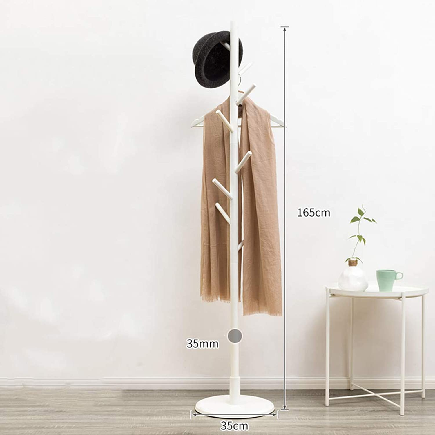Round Base Rubber Wood Solid Wood Coat Rack Floor Simple Modern Bedroom Hanging Clothes Rack Simple Living Room Storage, Tool-Free Assembly,White