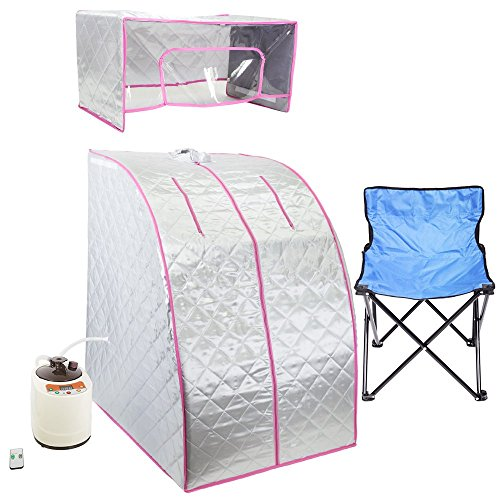 WYZworks Silver/Pink Portable Therapeutic Personal Steam Sauna Spa Room 2L Water Capacity with Headcover and Herb Box