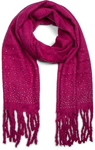 styleBREAKER Damen unifarbener Schal mit Strass und langen dicken Fransen, Glitzersteine, Winter, Stola 01017119, Farbe:Pink
