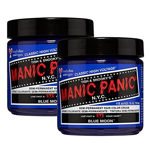 Manic Panic - Blue Moon Classic Creme Vegan Cruelty Free Blue Semi Permanent Hair Dye - 2 x 118ml