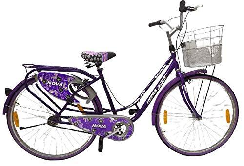BraveHeart Nova Heena City Bike 15.00 Tube Type 26T with Basket Single Speed Bicycle for Women Girls ( Age 13+Years)