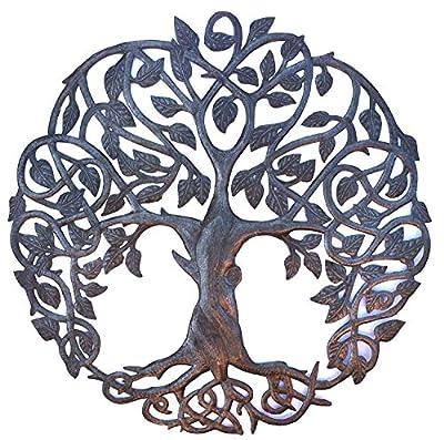 "New Design Celtic Inspired Tree of Life, Metal Wall Art, Fair trade from Haiti, 23"" X 23"""