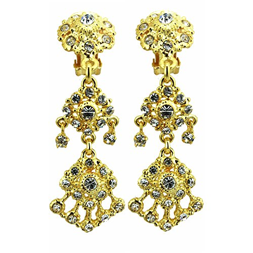 Siwalai Thai Traditional Gold Plated Clear Crystals Clip On Earrings 3 Inches