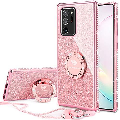 OCYCLONE Fundas para Samsung Galaxy Note 20 Ultra 6.9 Pulgadas, Purpurina Ultra Slim Soft TPU Fundas Movil con Brillo Glitter Dimante Anillo de Teléfono Protectora Note 20 Ultra para Mujer - Oro Rosa