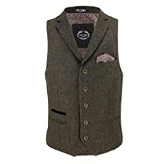 Mens Oak Brown Blue Green Herringbone Tweed Vintage Collar Waistcoat Retro Smart Tailored Fit Vest [Chest UK 46 EU 56,Brown] #1
