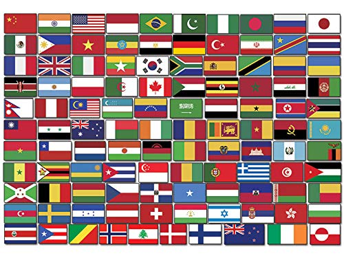 Sheet of Top 110 WORLD COUNTRY Flag Stickers (scrapbooking countries set small laptop)
