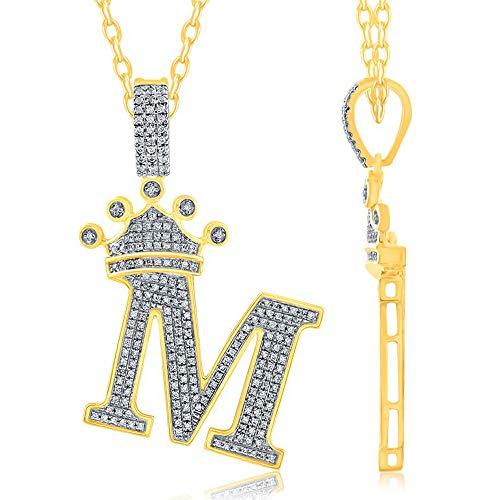 TGDJ Colgante personalizado de oro amarillo de 10 quilates, letra M de 0,42 quilates, diamante de corona de 3,8 cm