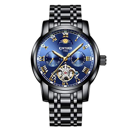 IPOTCH KINYUED Automático Reloj Esqueleto Mecánico Caballero Reloj - Azul Negro