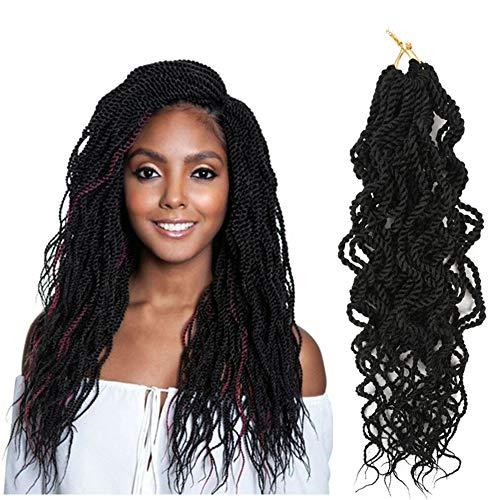 Synthetic Senegalese Twist Crochet Braids 18inch 6 Packs 15 Stands/Pack Wavy crochet senegalese twist Crochet Synthetic Hair Extensions(18inch,1B)