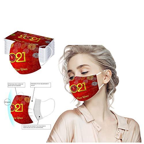 10/50 Stück 2021 Happy New Year Mundschutz mit Motiv,Einweg,3-lagig Mund-Nasen-Schutz,Multifunktionstuch Halstuch Bandana für Erwachsene