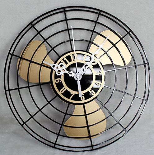 YLCJ wandklok, creatief, ventilator, antiek-look, om op te hangen, retro, mute-C